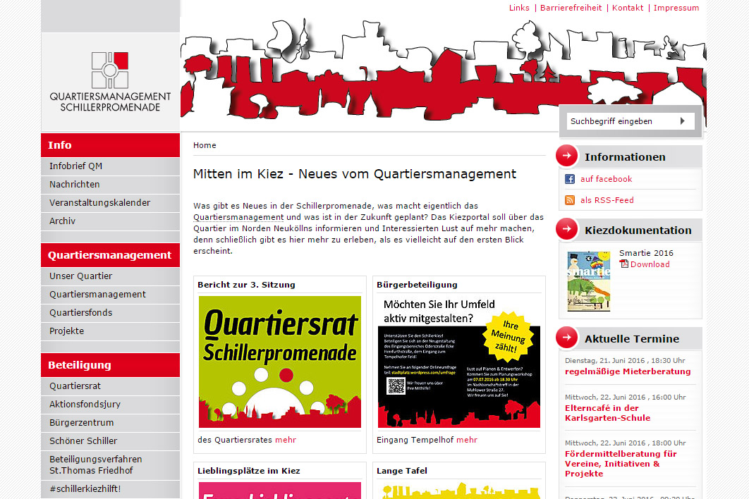 17 Websites des Quartiersmanagements